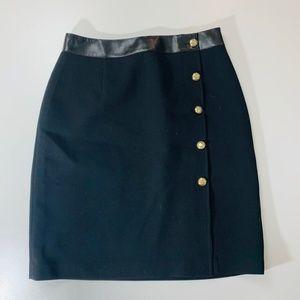 WHBM Black Pencil Leather Trim Gold Button Skirt 6